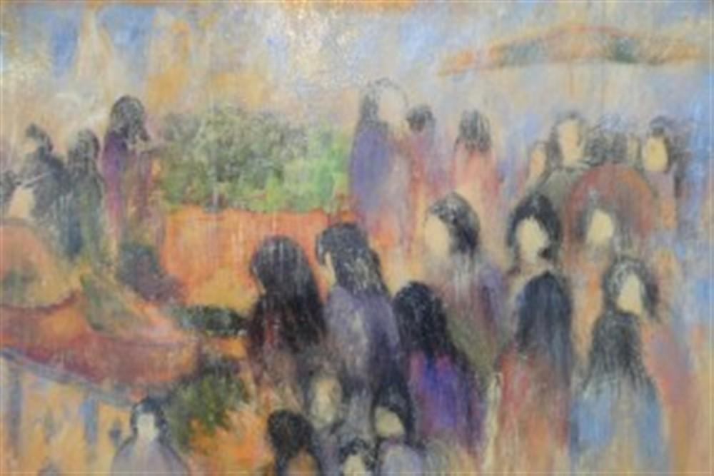 Le marché. Huile sur toile de J.J.Marie