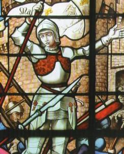 Jeanne libérant Orléans. Vitrail Eglise St Sulpice de Fougères